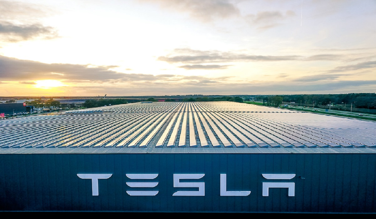 View of Tesla factory. Tesla shares fell drastically and the NASDAQ fell along with it