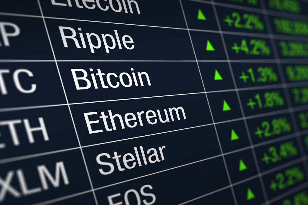 Cryptocurrency trading Ripple, Bitcoin, Ethereum, Stellar on coinbase