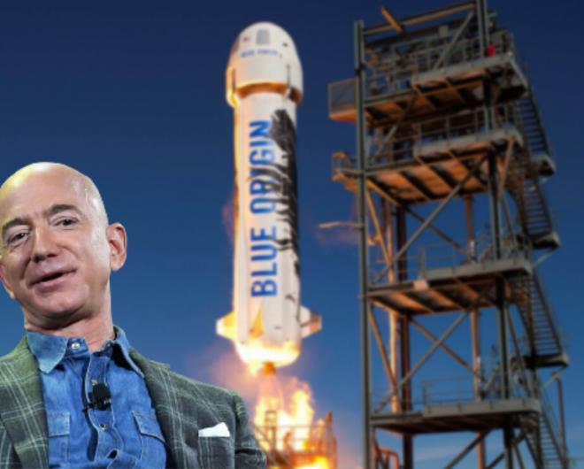 Jeff Bezos takes off on the blue origin sending Amazon stock up
