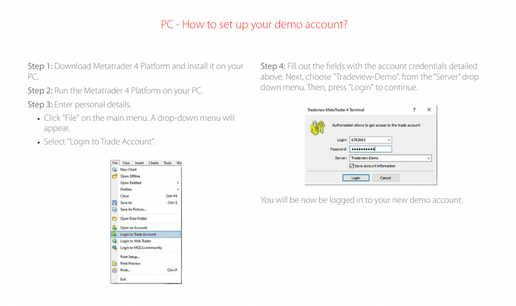 How to download and set up an MT4 Demo account with tradeview